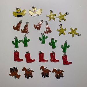 Cowboy charms jewelry making lot